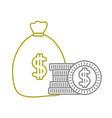 yellow line money inside bag with peso symbol and vector image