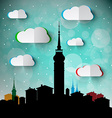 Abstract Town - City with Big Tower Silhouette vector image