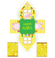 printable gift easter house with banny eggs and vector image