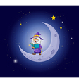 A wizard holding a book near the moon vector image vector image