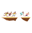 runners jump a ditch composition vector image