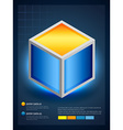 3d cube in infographic style vector image
