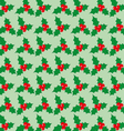 Christmas seamless pattern with berries on a green vector image vector image
