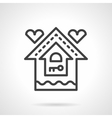 Mortgage for young family black line icon vector image