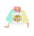 autumn sale design concept woman with paper vector image