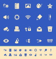 General computer screen color icons on blue vector image