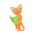 Red Cat Smiling Bookworm Zoo Character Wearing vector image