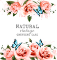 Natural background with roses Vintage vector image vector image