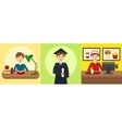 Human life path education and work cartoon vector image