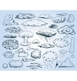 Doodle Collection of Hand Drawn Clouds vector image