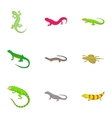 Amphibian reptile species icons set cartoon style vector image