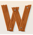 wooden letter w vector image