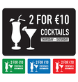 two for ten euro deal set vector image vector image