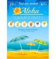 Aloha beach party background with umbrellas and vector image
