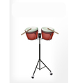 Beautiful Bongo Drum with Sticks on Stand vector image