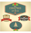 Christmas decoration and vintage new year labels vector image