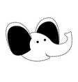elephant cartoon head in black dotted silhouette vector image