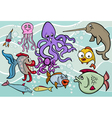 sea life animals group cartoon vector image