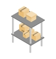 Shelves with cardboard boxes icon vector image