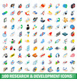 100 research development icons set vector image