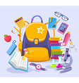 colorful of unisex yellow backpack pile of vector image