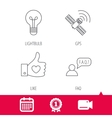 GPS question and lightbulb icons vector image