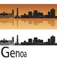 Genoa skyline in orange background vector image