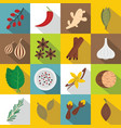 spice icons set flat style vector image