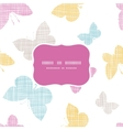 Textile textured colorful butterflies frame vector image