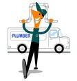 plumber with van vector image