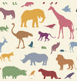animal silhouette seamless pattern wildlife vector image