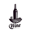 bottle of wine background of vineyard field icon vector image