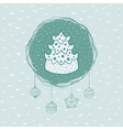 Christmas and New Year round frame with pine tree vector image