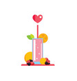 fresh summer drink smoothie juice cocktail with vector image