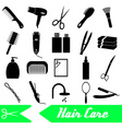 hair care theme black simple icons set eps10 vector image