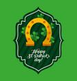 happy st patricks day green label golden horseshoe vector image