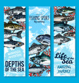sea fishing and seafood banners vector image