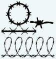 Set sumbol barbed wire vector image