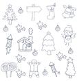 Christmas set element of doodles vector image