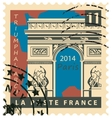 stamp with Paris Triumphal Arch vector image vector image