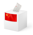 Ballot box with voting paper China vector image