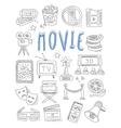 Cinema doodles set of hand drawn vector image