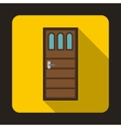 Wooden door with three glasses icon vector image vector image