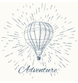 air balloon and vintage sun burst frame Adventure vector image