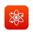 atom with electrons icon digital red vector image