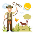 cowboy with lasso flat style colorful vector image