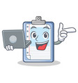 with laptop clipboard character cartoon style vector image