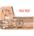 wild west background with cowboy boots american vector image