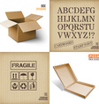 Cardboard set Icons texture Pizza box vector image