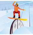 Extreme athlete moves down from the mountain on a vector image